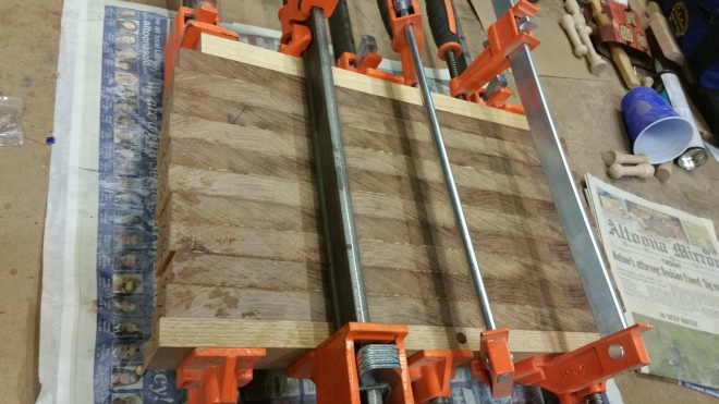 Glue up of Brazilian Cherry Butcher Block Cutting Board