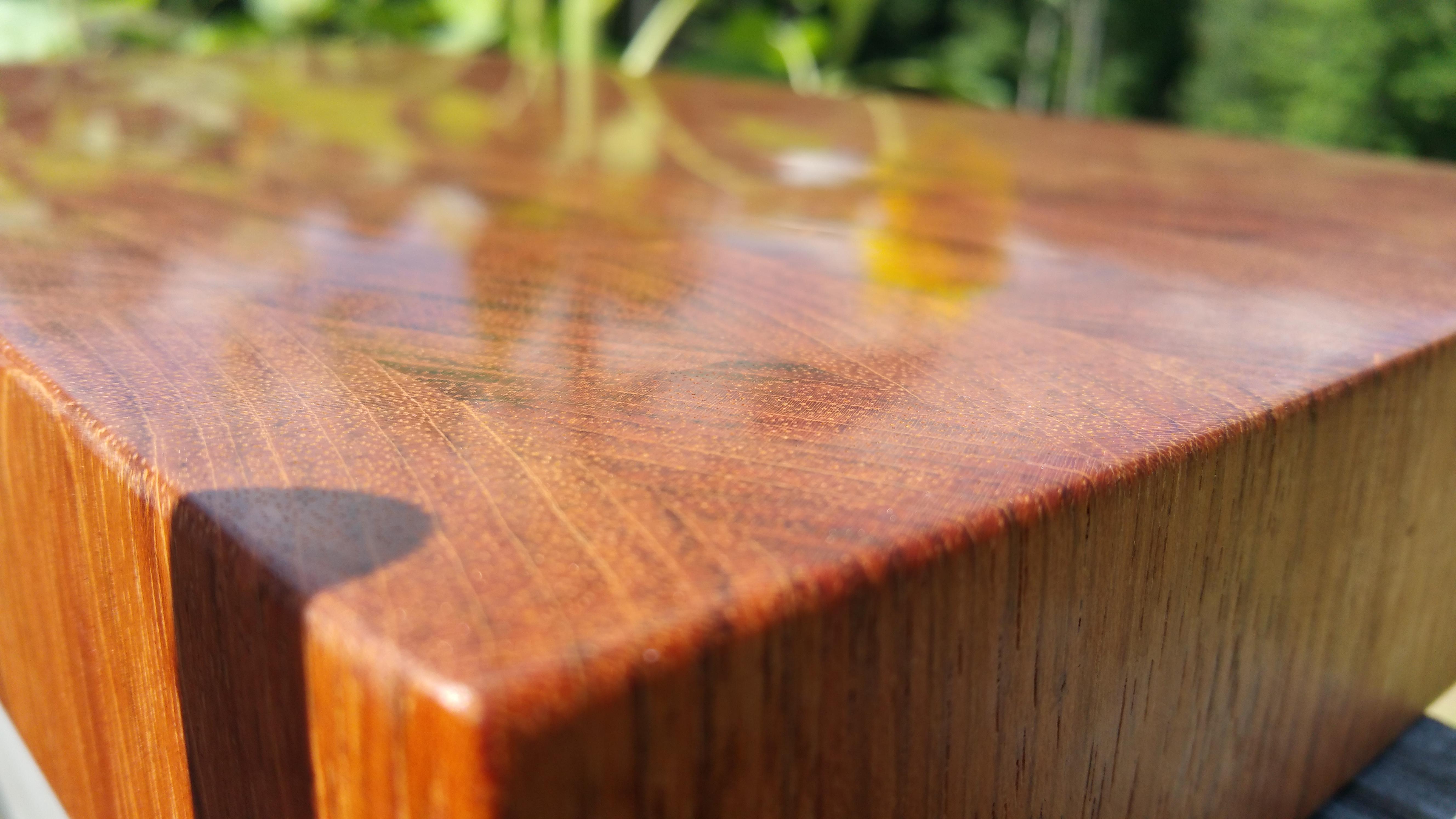 closeup of brazilian cherry butcher block cutting board