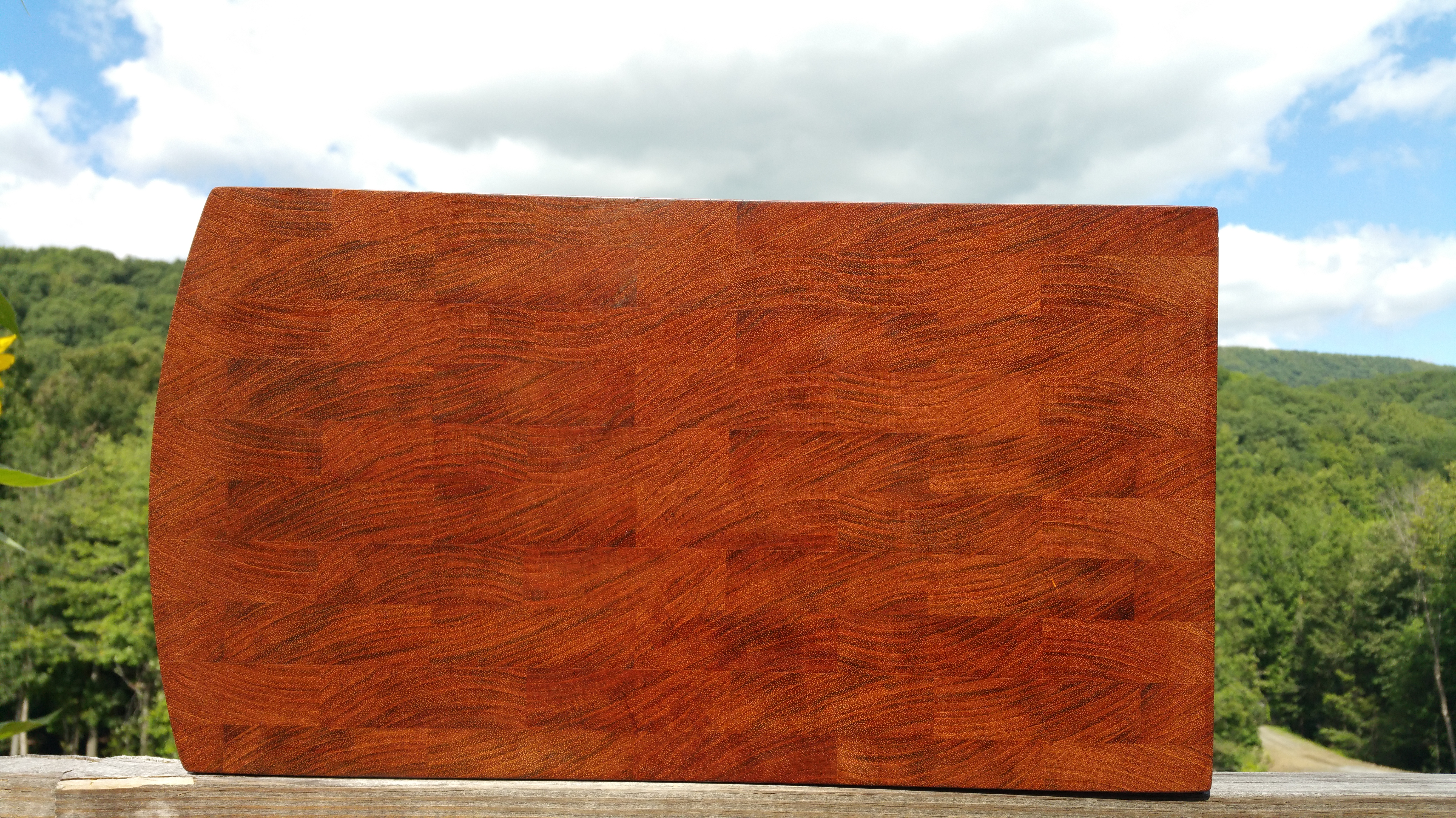 Top View of Brazilian Cherry Butcher Block Cutting Board