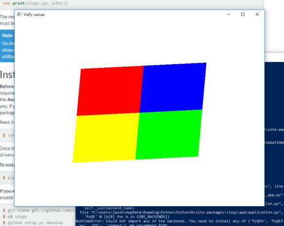 Installing VisPy on Windows 10 | The Gahooa Perspective